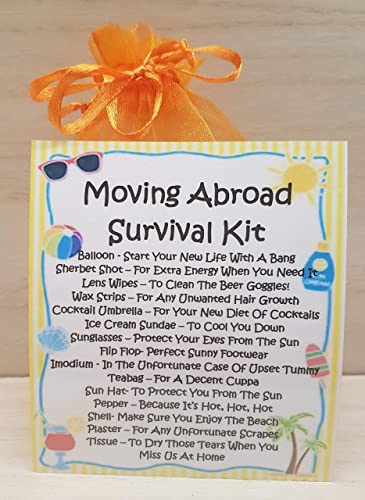 Moving Abroad Survival Kit - A Unique Fun Novelty Gift & Keepsake