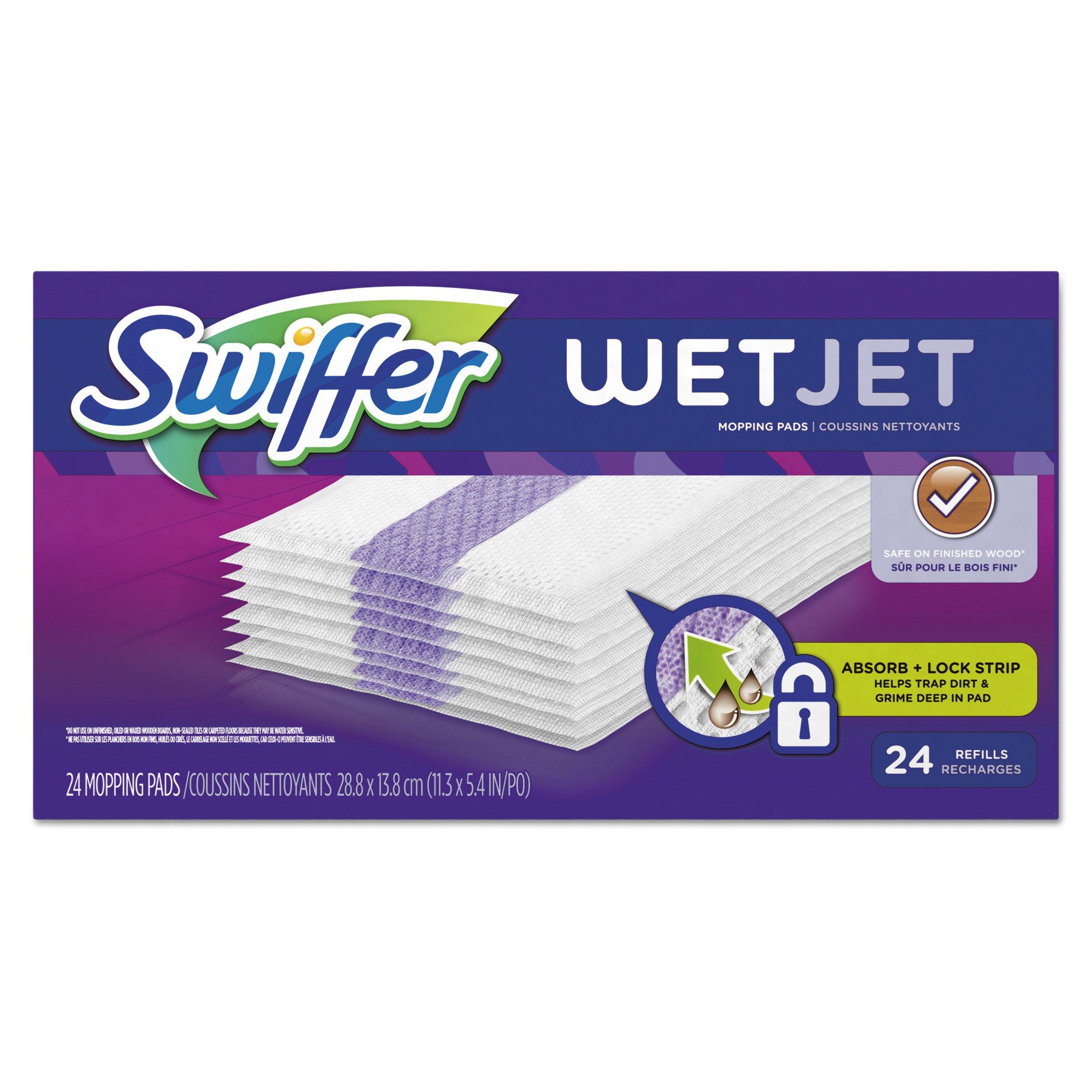 "Swiffer 08443CT WetJet System Refill Cloths, 11.3"" x 5.4"", White, 24 per Box"