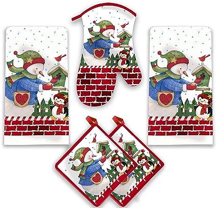 American Mills Snowman Decorating Christmas Tree Kitchen Towel Set 5 Piece Towels Pot Holders Oven Mitt