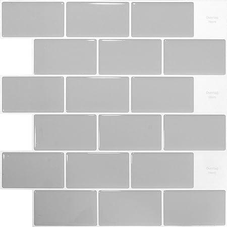 Shingone Peel And Stick Wall Tiles Waterproof For Kitchen And Bathroom 3d Stick On Tiles Metro Subway Tiles Self Adhesive Tile Stickers Backsplash Grey 4 Sheets Amazon Co Uk Kitchen Home
