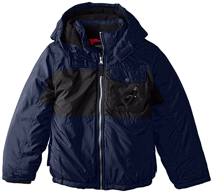 Nautica Little Boys' Colorblocked Puffer Coat, Sport Navy, X-Large