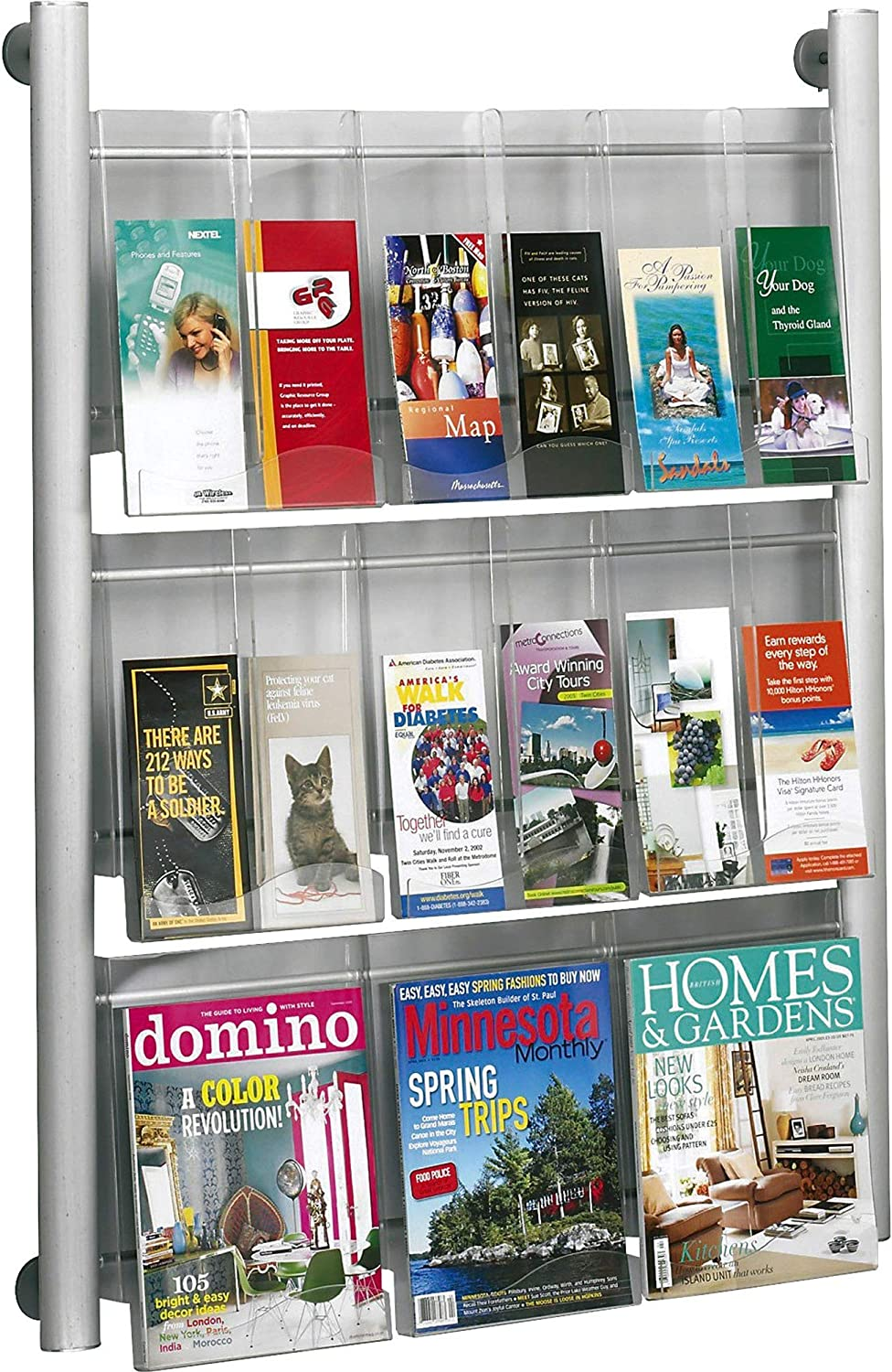 Safco Products 4134SL Luxe Magazine Rack, 9 Pocket, Silver