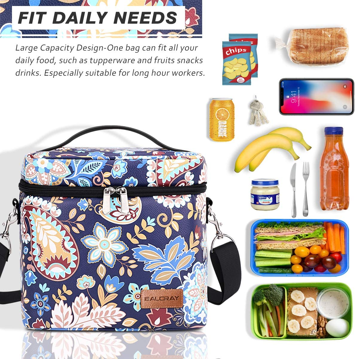 BALORAY Lunch Bags for Women Waterproof PU Leather Multifunction Insulated Cooler Bag with Adjustable Shoulder Strap Tote Lunch Box Bags for Outdoor Picnic Hiking Work Women