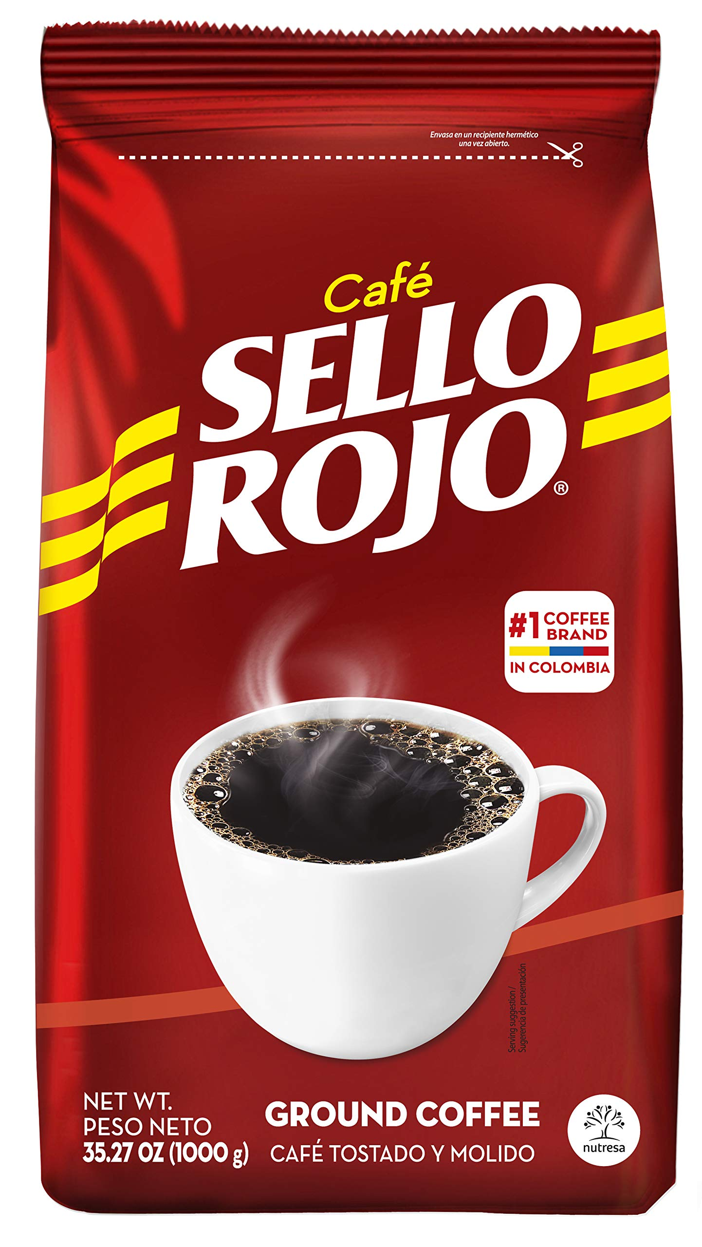 Sello Rojo Coffee Traditional Bag 35.27 Oz ( Pack of 10 ) | Smooth and Flavorful Low Acidity Coffee with no Bitter Aftertaste or Heartburn | Medium Roast Ground Colombian Coffee | Cafe de Colombia