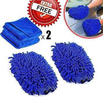 Coppia di guanti per lavaggio auto Amison include 2 panni per pulizia auto e casa in microfibra super morbida