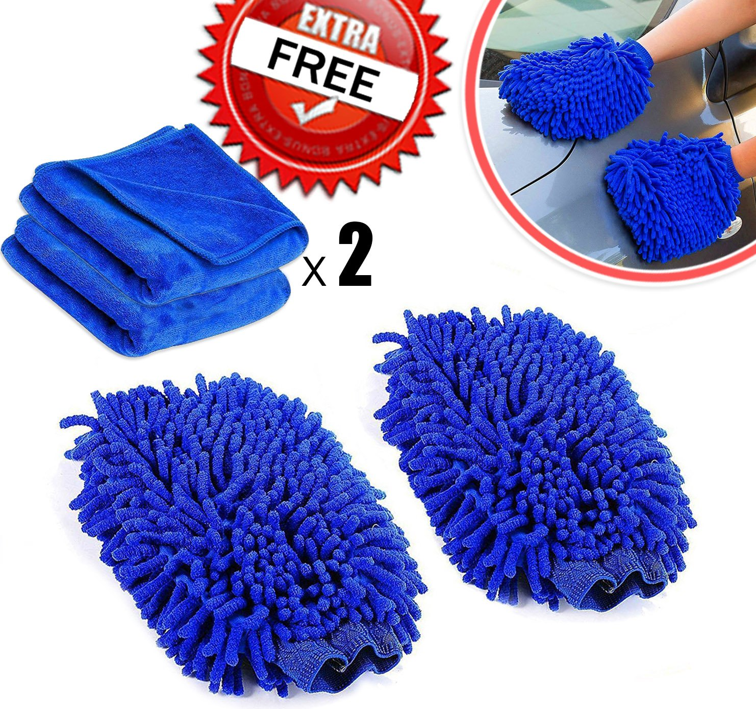 Amison - Guantes de lavado para limpieza de coche, 2unidades, Premium Ultrasuave, de microfibra, paño de limpieza para limpieza del coche y hogar