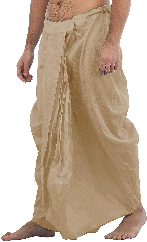 Maenner-Dhoti-Dupion-Silk-Plain-handgefertigt-fuer-Pooja-Casual-Hochzeit-Wear Indexbild 48