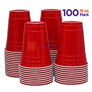 Stack Man [ 16 oz-100 Pack] Red Party Cups Cold Drink Plastic Disposable, 16 oz,