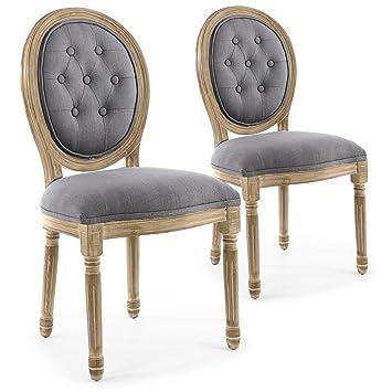b86efb223d547 INTENSEDECO Lot de 2 chaises médaillon capitonnées Louis XVI Tissu Gris