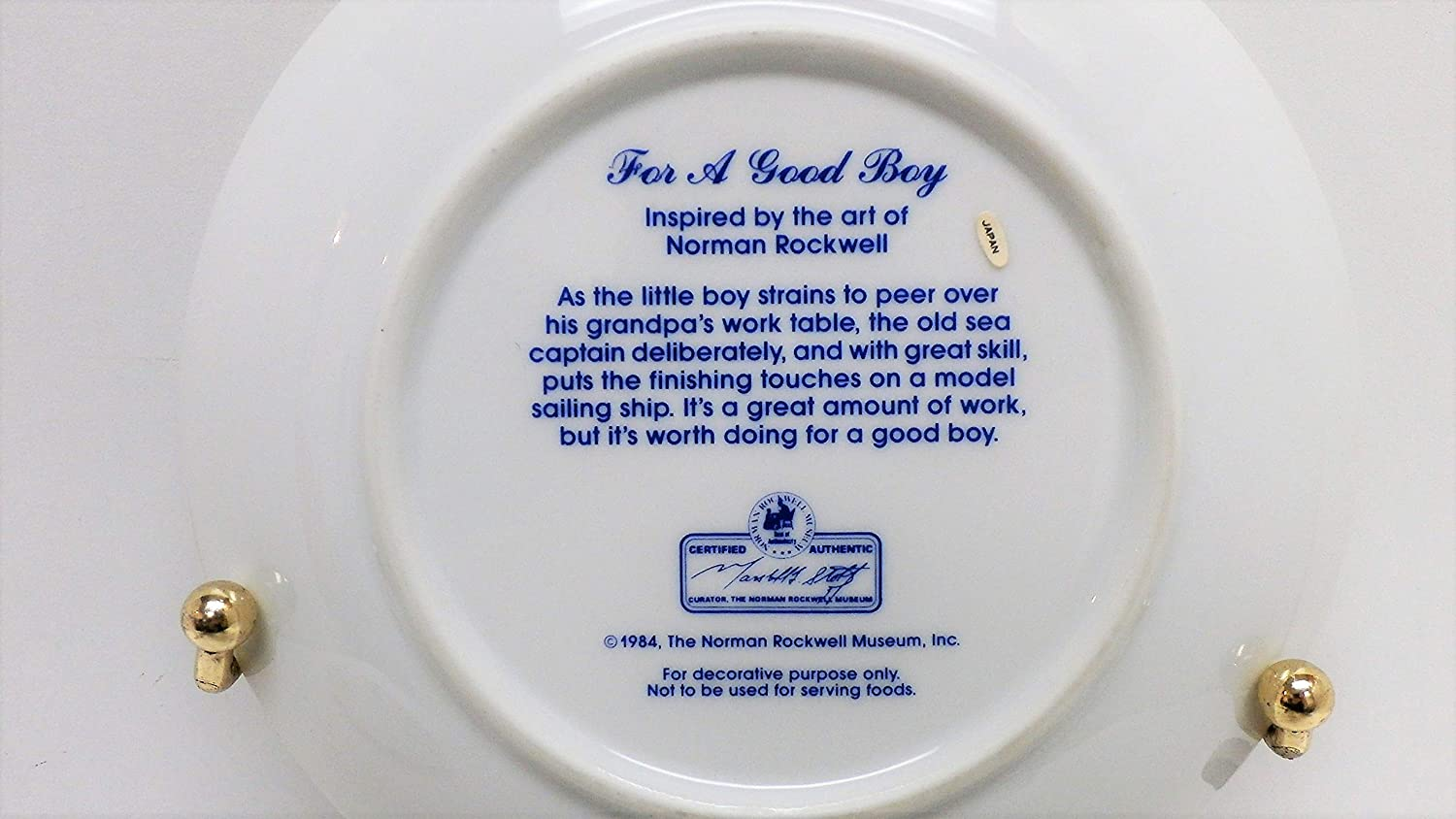 COLLECTOR PLATE FOR A GOOD BOY BY NORMAN ROCKWELL 1984