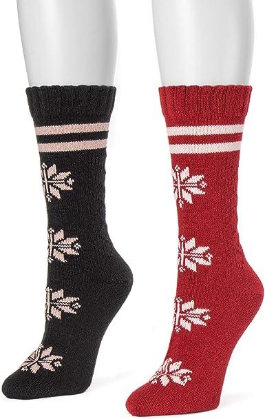 Muk Luks Womens Boot Socks Pack of 2 Dark Red//White Crew Waffle Size 6-11