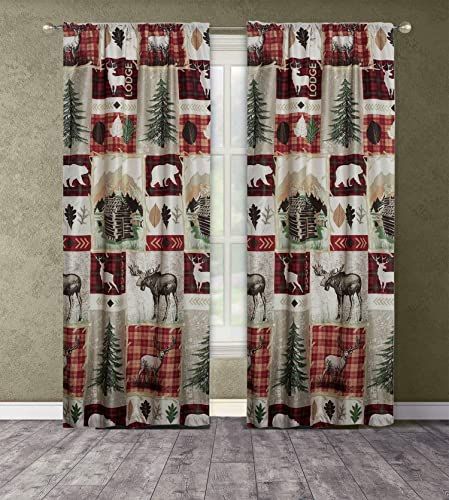 Cheap Rustic Lodge Cabin 84-in. Window Curtains Panel Pair Drapes Elk Deer and Bear window curtain panel for sale