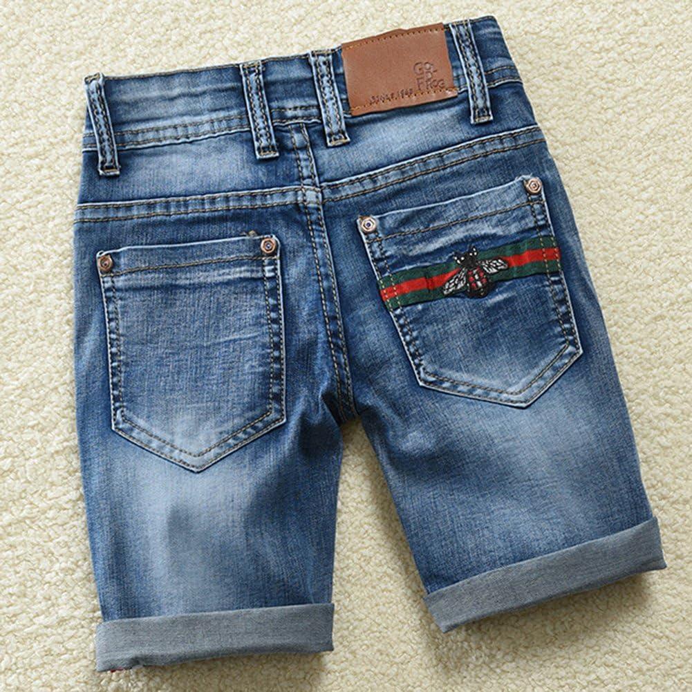 Aulase Little Boys Basic Denim Shorts Cowboy Fashion Embroidery Bee Summer Jeans