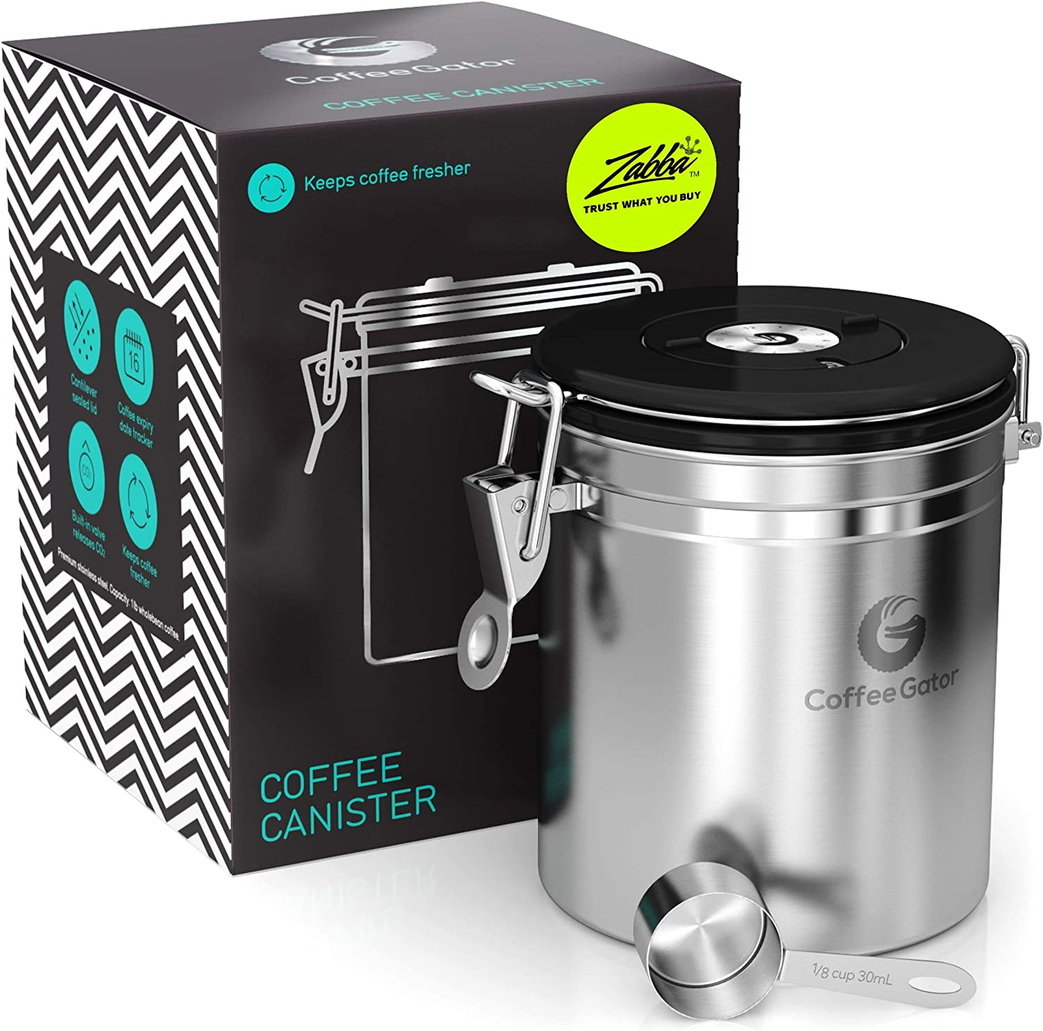 Silver CO2-Release Valve W// Scoop Coffee Gator Coffee Canister- Stainless Steel Coffee Storage /& Containers- Airtight Canisters Keep Beans Fresh- Date-Tracker Jar Medium