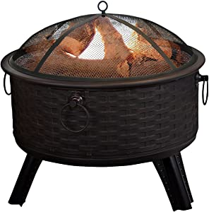 PURE GARDEN 26 ROUND WOVEN METAL FIRE PIT w/ COVER