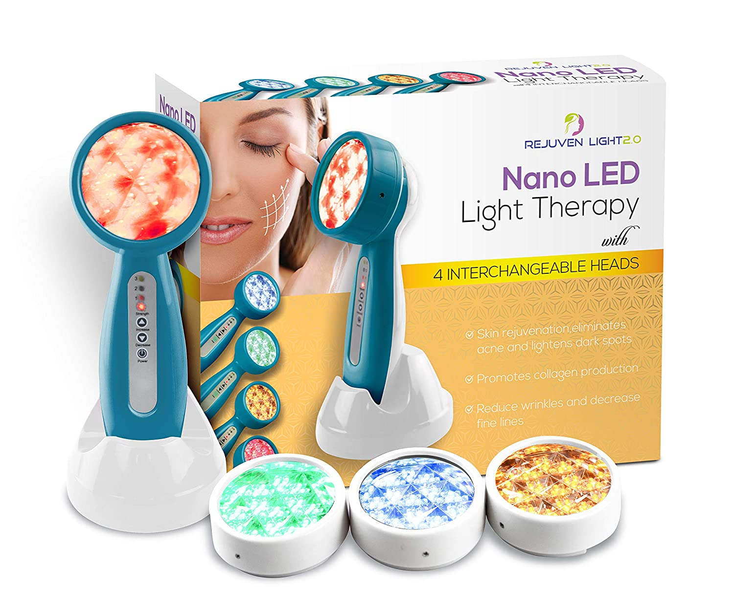 Rejuven Light 2.0 LED Light therapy w/ 4 Interchangeable heads Anti aging device