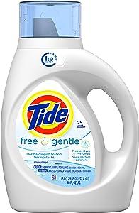 Tide Free & Gentle, HE Turbo Clean, Liquid Laundry Detergent, 25 Loads, 40 fl oz