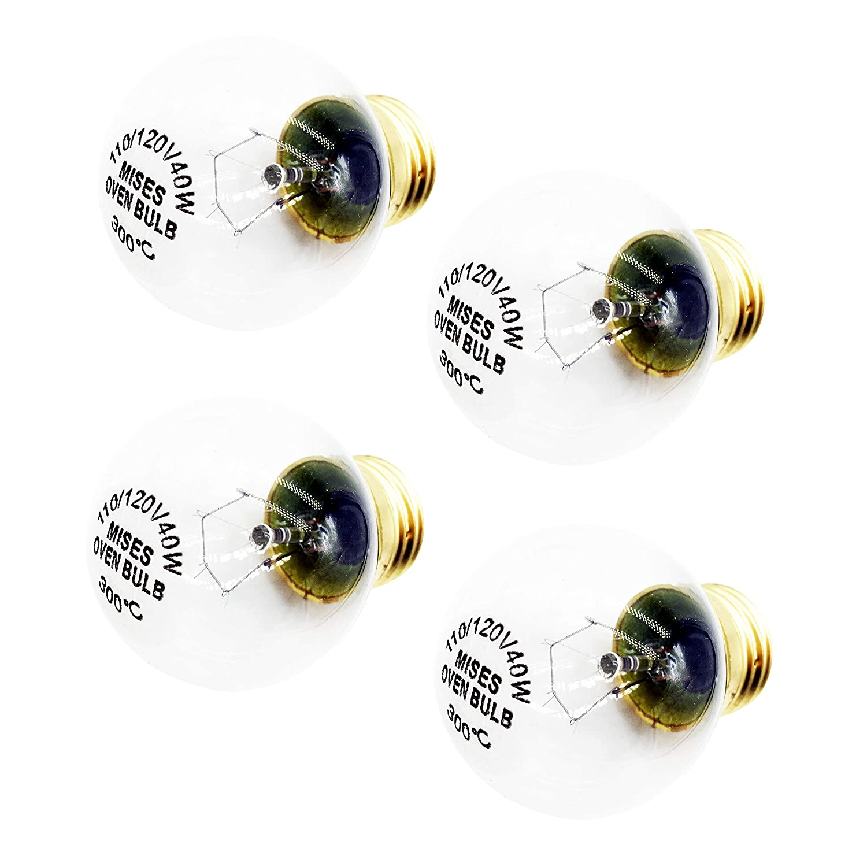 Mises Oven Light Bulb Oven Bulb Refrigerator Appliance Bulb Desk Lamp Household Lighting Bulb E26/E27 Standard Base 120V 110V~130V 40W (4-Pack)
