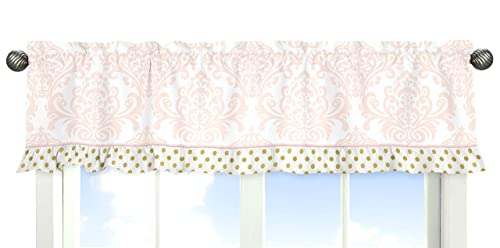 Window Valance for Girls Blush Pink White Damask and Gold Polka Dot Amelia Colleciton Bedding Sets