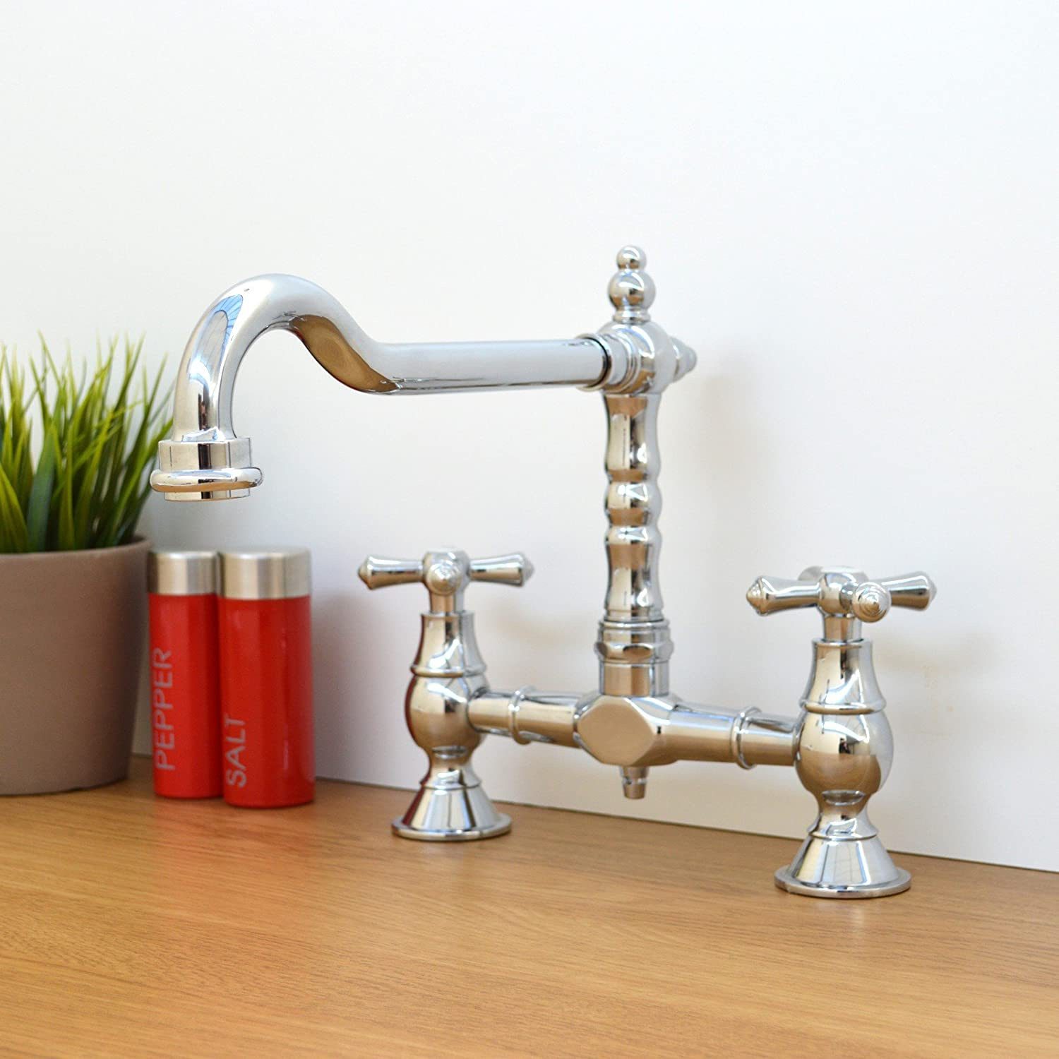 ENKI Traditional Colonial Bridge Kitchen Sink Mixer Tap Cross ...