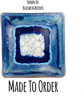 product image for Straight Hors D'oeuvres Geode Crackle Tray Made to Order, Fused Glass Tray, Square Ceramic Tray, Handmade Ceramic Centerpiece, Crackle Glass