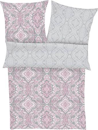 Ibena 6323 890 Bettwasche Set Baumwolle Grau Rosa 220 X 155 Cm