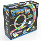 Mindscope Twister Tracks Trax 360 Loop 15' (feet) of Neon Glow in the Dark Track with Two Light-Up (Pulse LED) Vehicles Emergency Vehicle Series by Mindscope