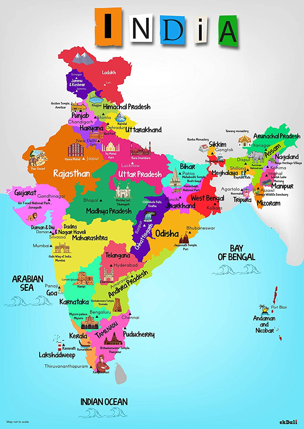 pics of india map Ekdali India Map With Monuments Paper 11 7 16 5 Inch pics of india map