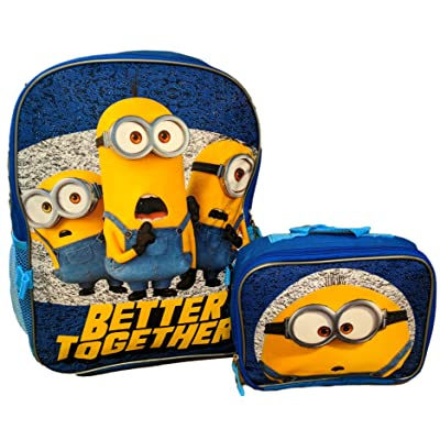"Despicable Me Minions 16"" Backpack with Detachable Lunch Box 