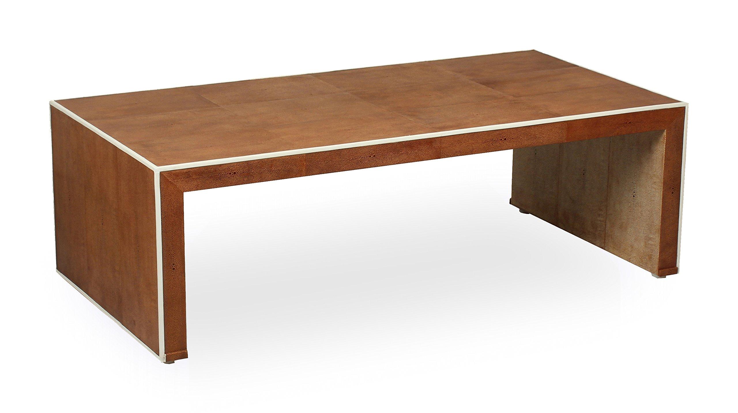 Sarreid 40133 Shagreen Coffee Table, Low Tan