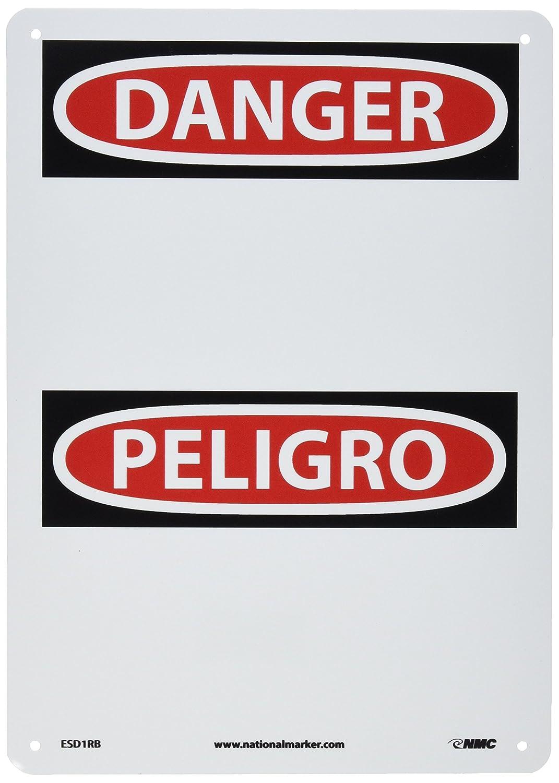 NMC ESD1RB Bilingual OSHA Sign 10 Length x 14 Height Legend DANGER Rigid Plastic Black//Red on White