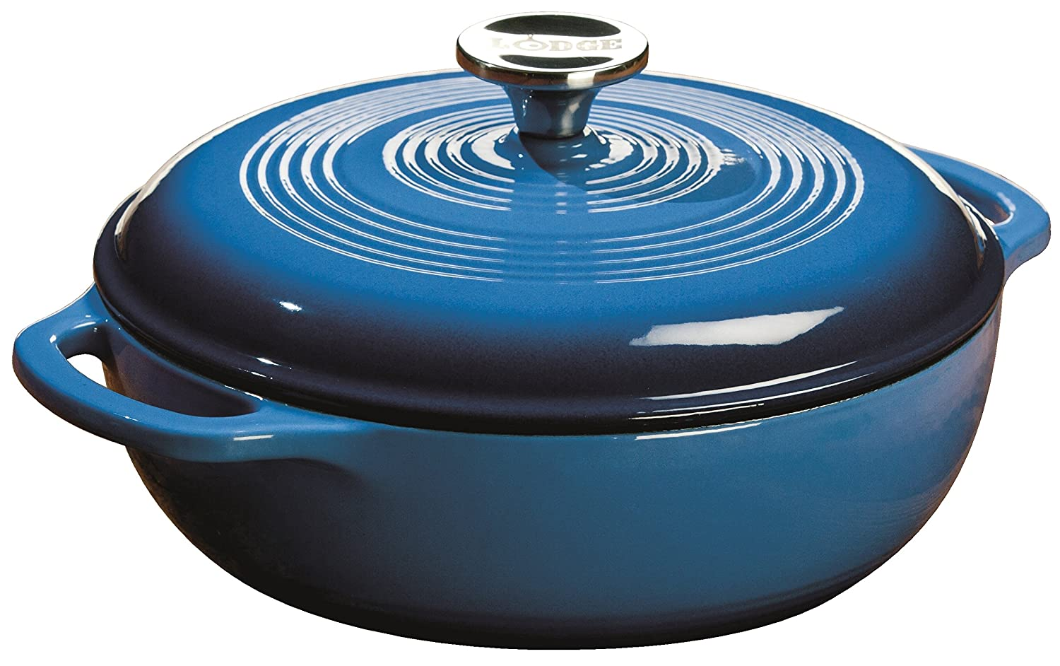 Lodge EC3D33 Enameled Cast Iron Dutch Oven, 3-Quart,Caribbean Blue