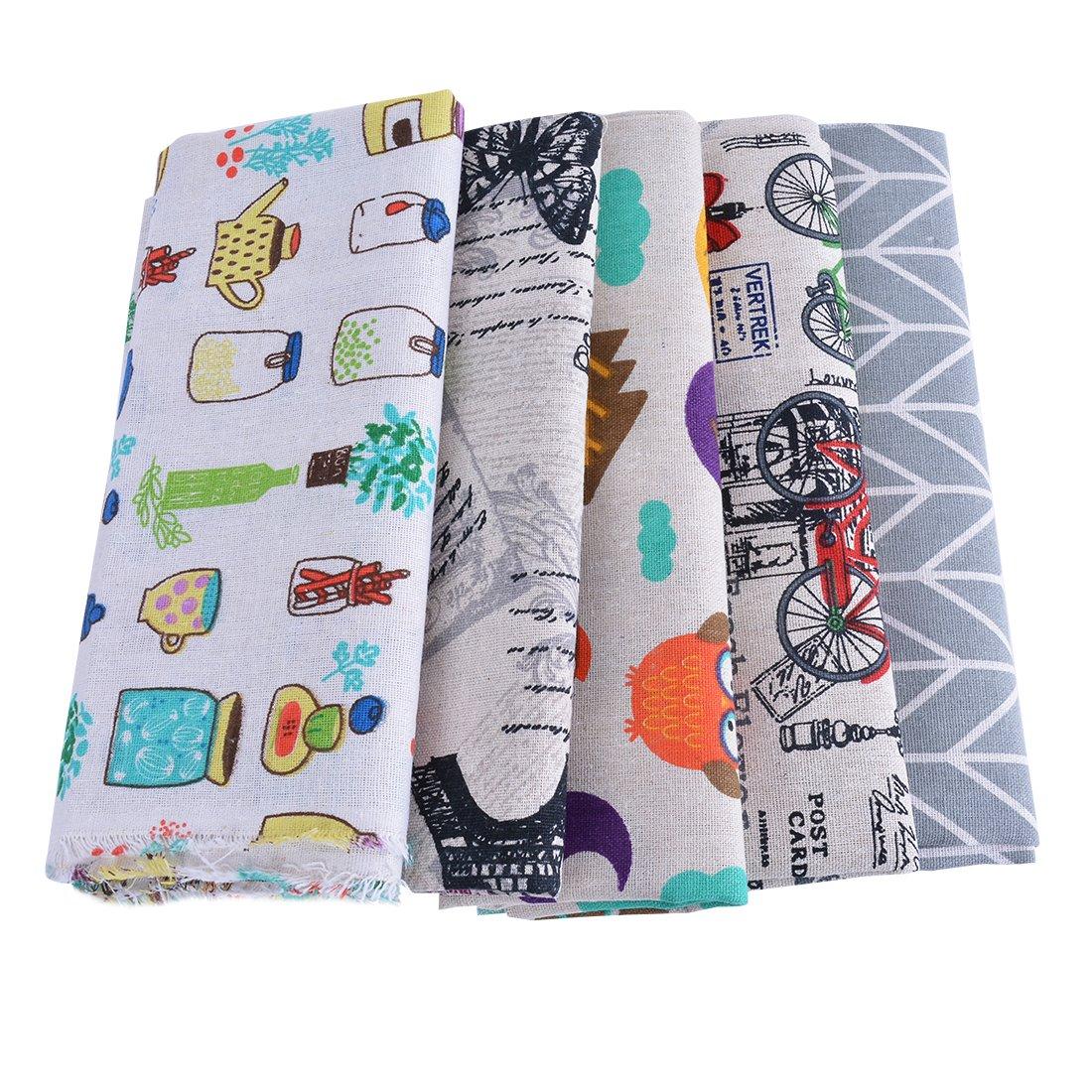 5PCs Tissu en Lin Imprimé Dessin Animé Bricolage Patchwork Vélo Papillon Hibou Coupon DIY Quilting Loisir Créatifs Textile Artisanat Bundle Écologique Couture Scrapbooking 100x 50cm Cysincos