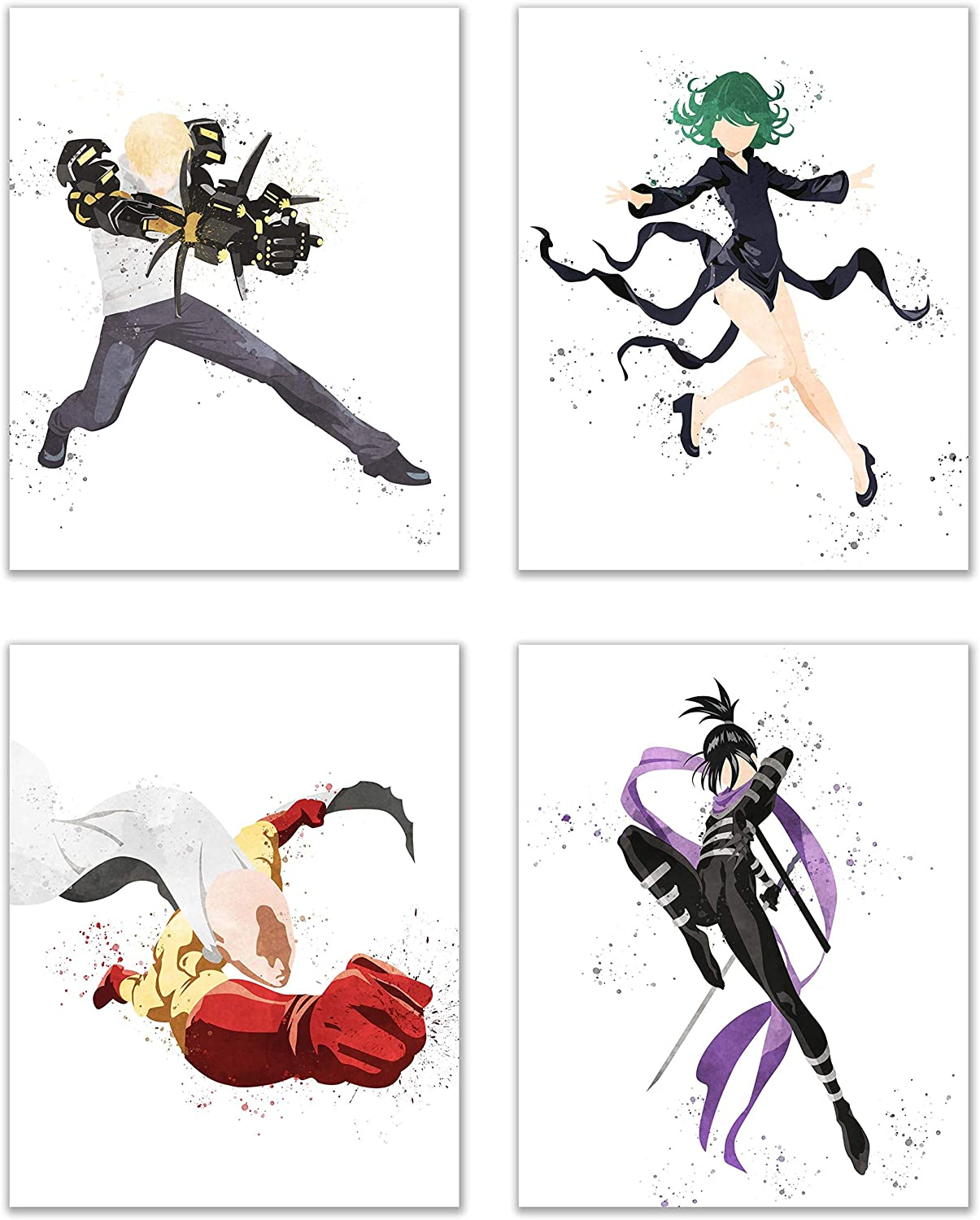 Watercolor One Punch Man Poster Prints - Set of 4 (8x10) Glossy Shonen Anime Manga Wall Art Decor - Saitama - Genos - Sonic - Tatsumaki (Tornado)