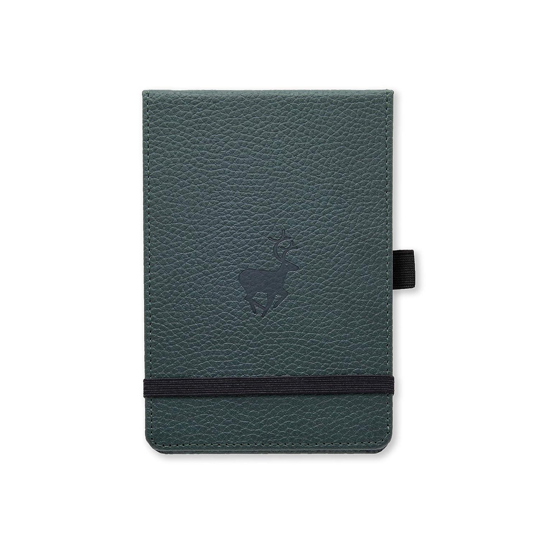 Tasca Interna Dingbats* Wildlife A6+ Reporter Taccuino Micro-Perforata 100gsm Pagine Crema Puntinato, Cervo Verde Porta Penna Pelle PU Chiusura a Elastico