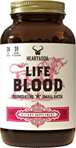 Heart & Soil Lifeblood Supplement — Grass Fed Whole Blood Extract, Spleen, and Liver to Support Overall Blood and Immune Health, as Well as Energy and Exercise Performance (180 Capsules)