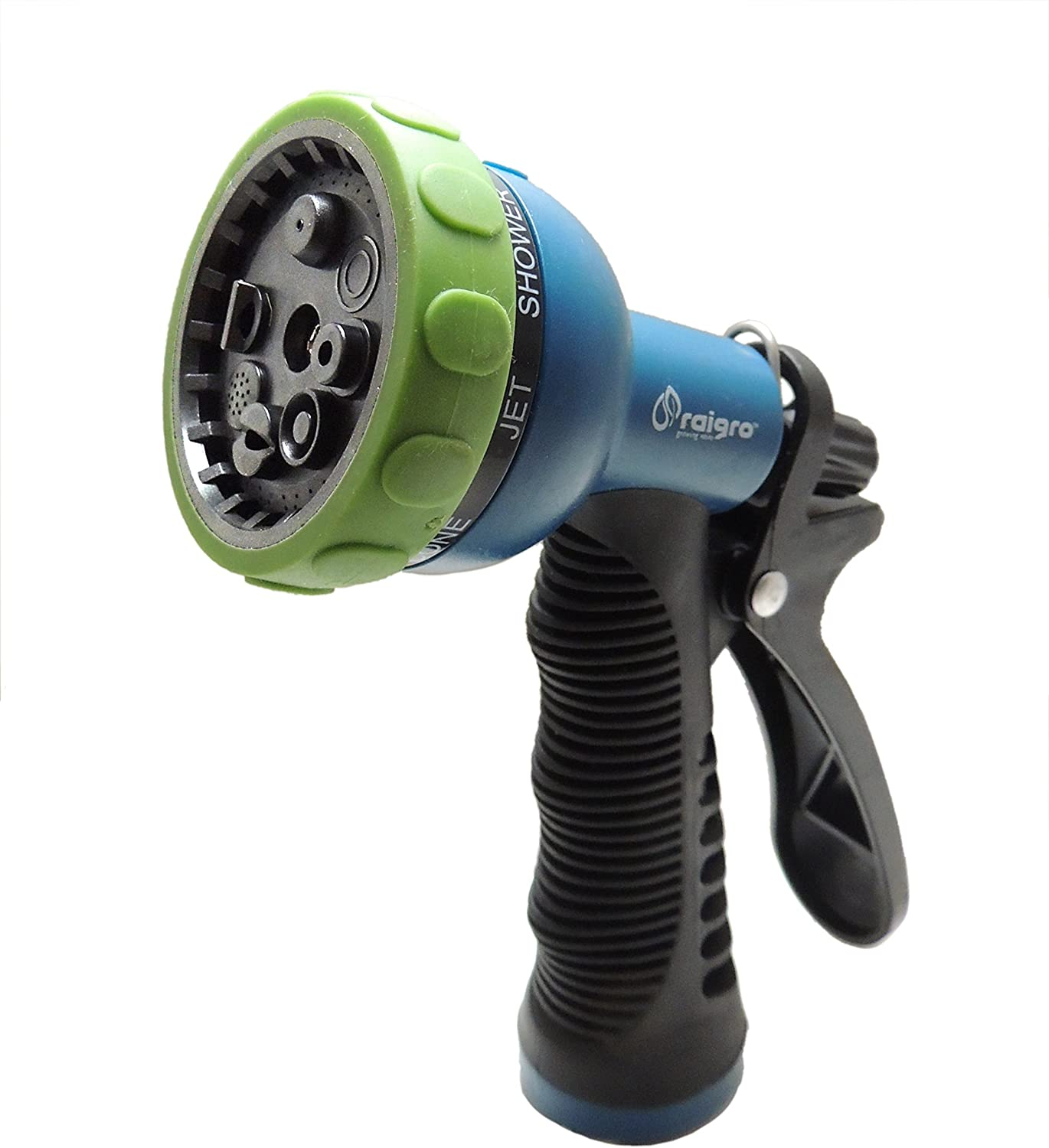 Raigro Classic Pull-Trigger Lawn and Garden Hose Spray Nozzle - Convenience, Versatility, And 8 Spray Patterns!
