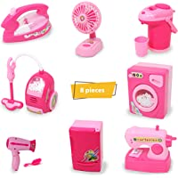 Zest 4 Toyz Battery Operated 8 Pieces Household Home Appliances Play Set Toys for Girls with Realistic Sound -Washing Machine , Sewing Machine, Vacuum Cleaner, Fan, Hair Dryer, Fridge, Thermos & Iron