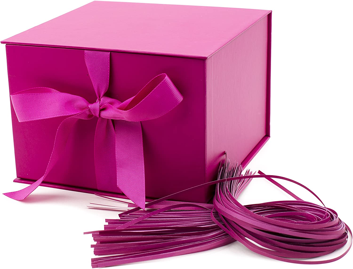 """Hallmark 7"""" Gift Box (Hot Pink) for Mother's Day, Birthdays, Baby Showers, Bridal Showers, Bridesmaids Gifts, Bachelorette Parties, Valentines Day and More"""