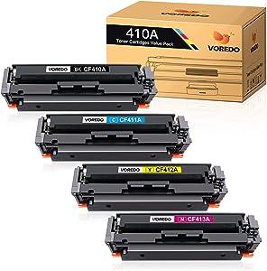 Voredo Compatible Toner Cartridge Replacement for HP 410A CF410A CF411A CF412A CF413A to use with Color Laserjet Pro MFP M477fdw M477fdn M477fnw Pro M452dn M452nw M452dw Printer (4-Pack)