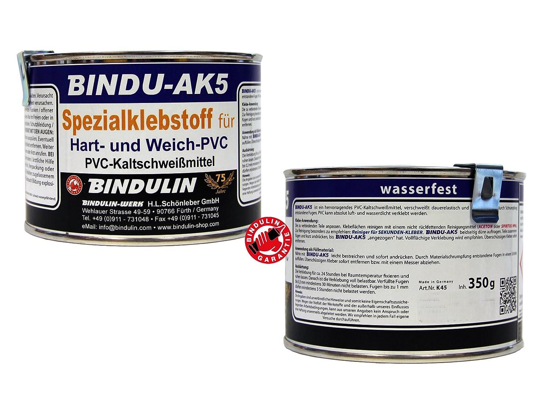 350 ml Bindu AK5 –  Speciale colla PCV –  Colla per in PVC duro & PVC morbido in PVC per una connessione cuciture –  klebt PVC con pelle tessuto Hol plastica, grondaie PVC-piastre moderna pvc Pell