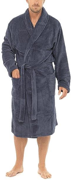 Para hombre diseño de rayas Franks Textura de Tom de forro polar albornoz para hombre: Amazon.es: Ropa y accesorios