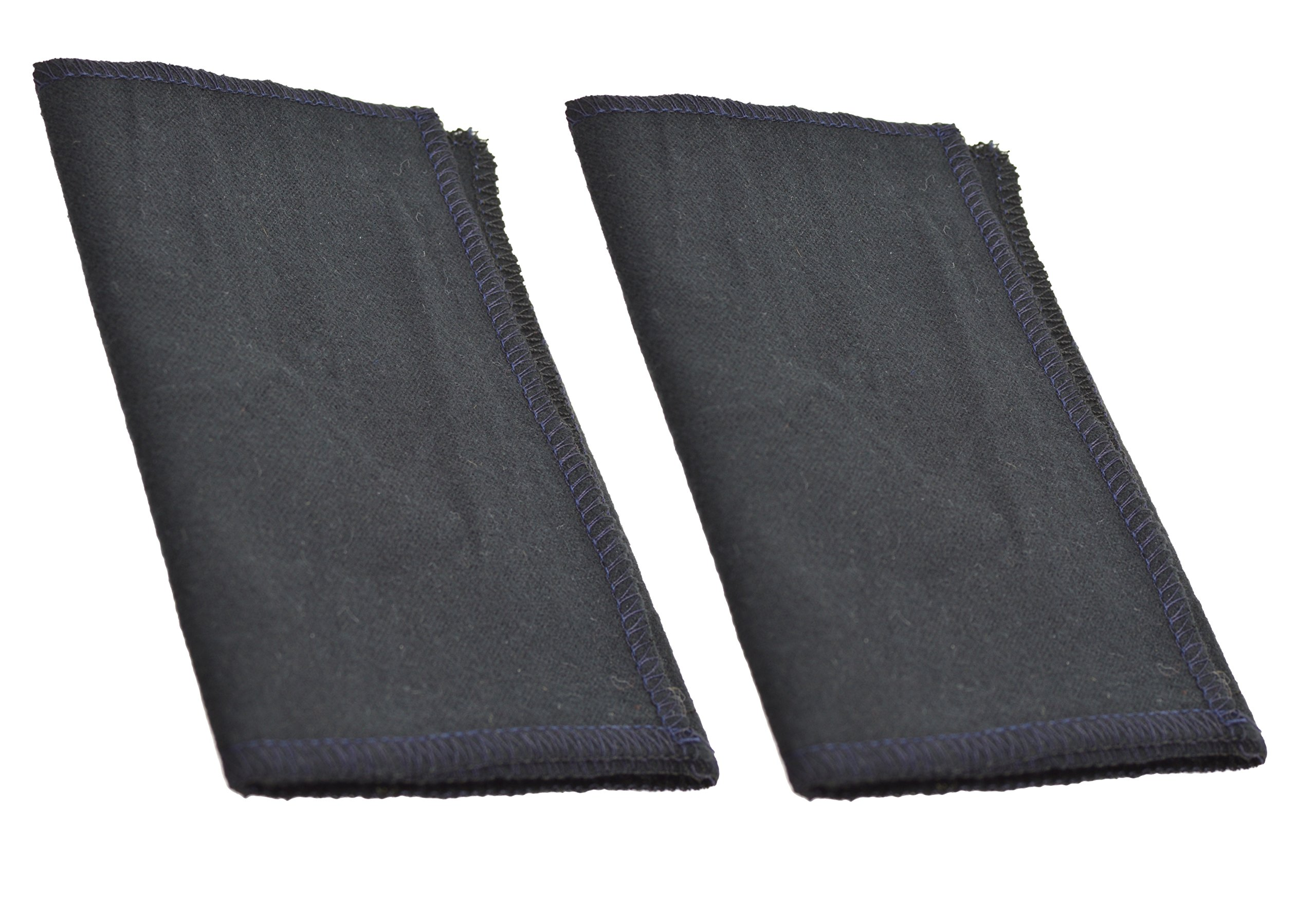 Professional Shoe Shine Cloth. Stitched on Every Sides. Made in USA. (Twin Black)