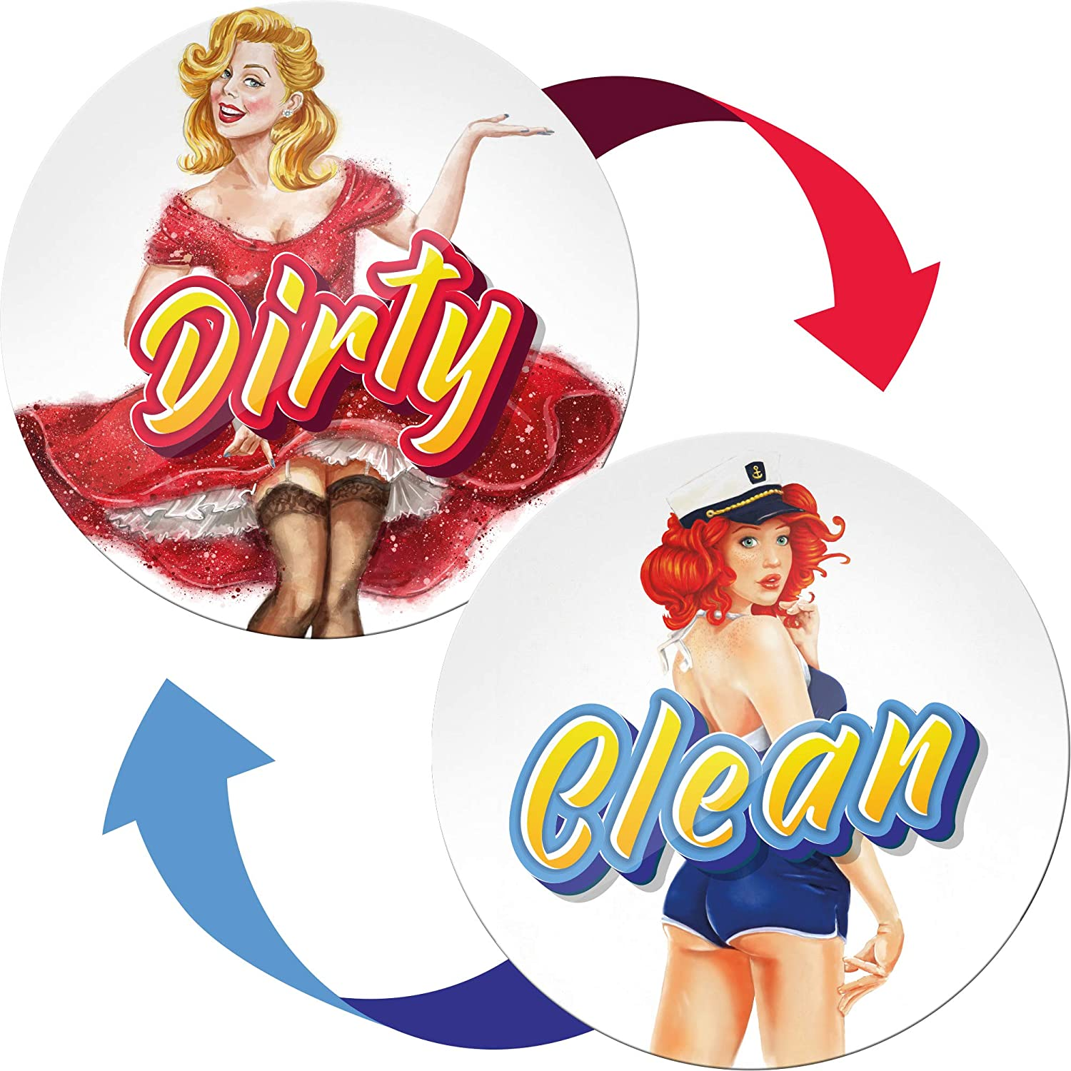Clean Dirty Dishwasher Magnet Retro Pinup - Funny Gifts for Men and Women - Housewarming Gifts New Home - Creative Gifts for Husband from Wife - Clean Dirty Dishwasher Magnet Flip
