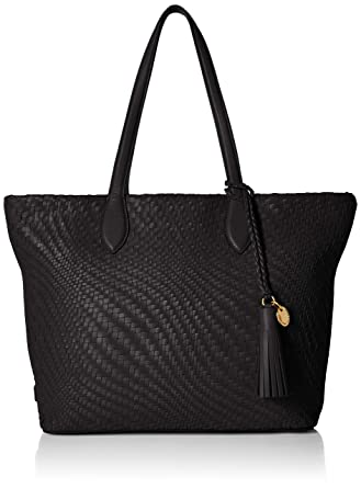 1287996932a Amazon.com: Cole Haan Genevieve Woven Leather Tote Bag, black: Clothing