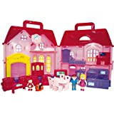 Toy2U My Sweet Home Family Dollhouse Deluxe Home 24 piece Collapsible Pretend Play Doll House toy, a Perfect Children's Toy with Lights, Sound, Doorbell, Home Accessories, family of 3 Dolls
