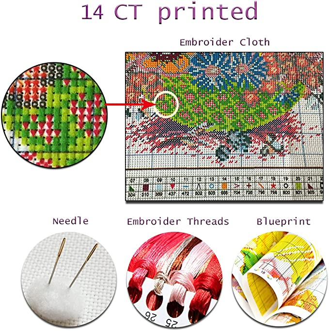 Joy Sunday Cherry Fruit Basket Counted Cross Stitch Kits,Embroidery Kit DMC Threads Cross-Stitch Patterns Supplies 14 Count 18x15
