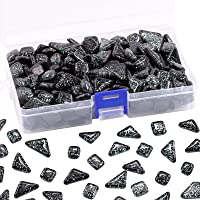 Swpeet 1Ib Glass Mosaic Tiles Pieces Stained Glass for Crafts, Mixed Colors and Patterns (Black)