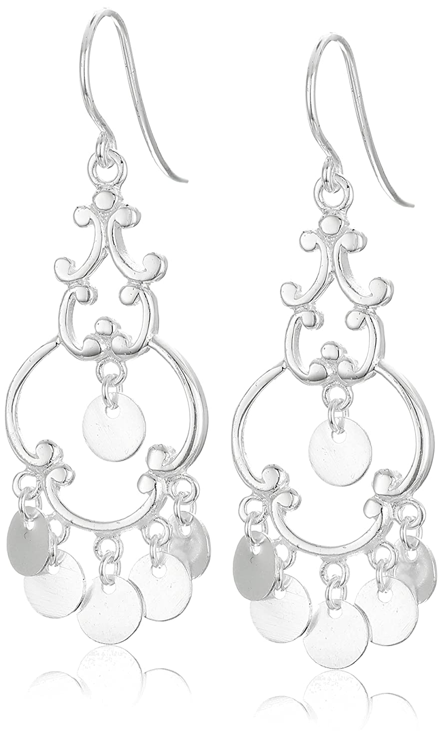 Amazon.com: Polished Sterling Silver French Wire Drop Earrings ...