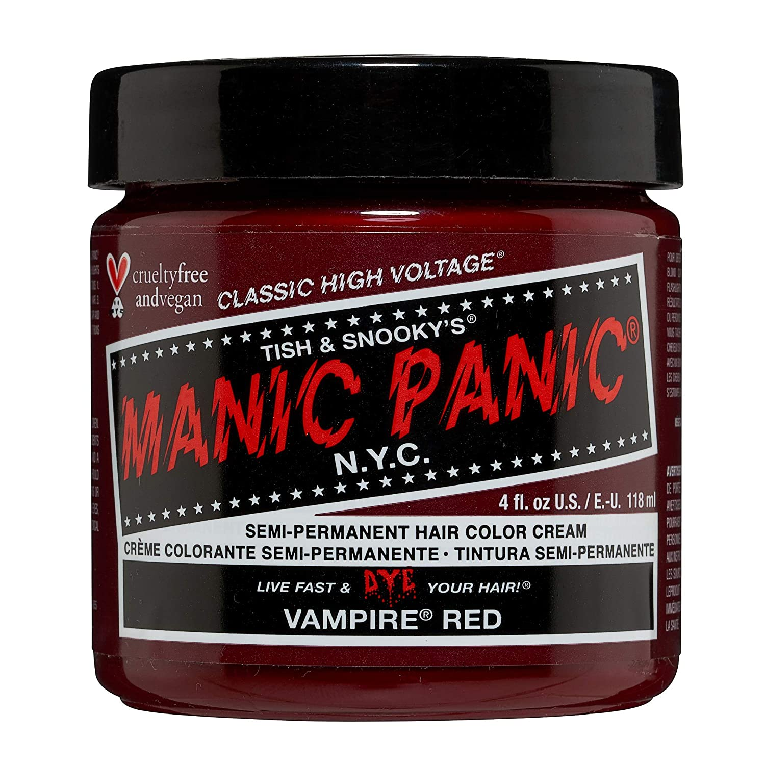 Manic Panic Vampire Red Hair Dye - Classic High Voltage - Semi Permanent Hair Color - Deep Blood Red Shade With Burgundy Tones - For Dark & Light Hair